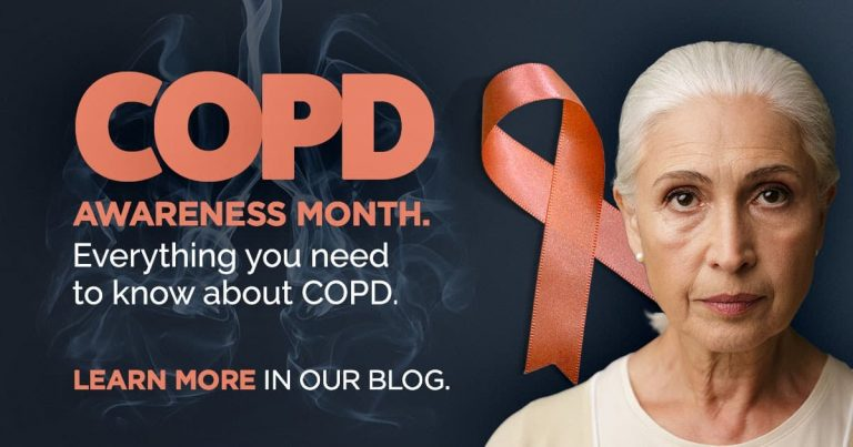 COPD Awareness month, Older woman, pink ribbon