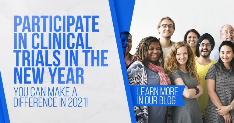 Participate in clinical trials in the new year, group of diverse people