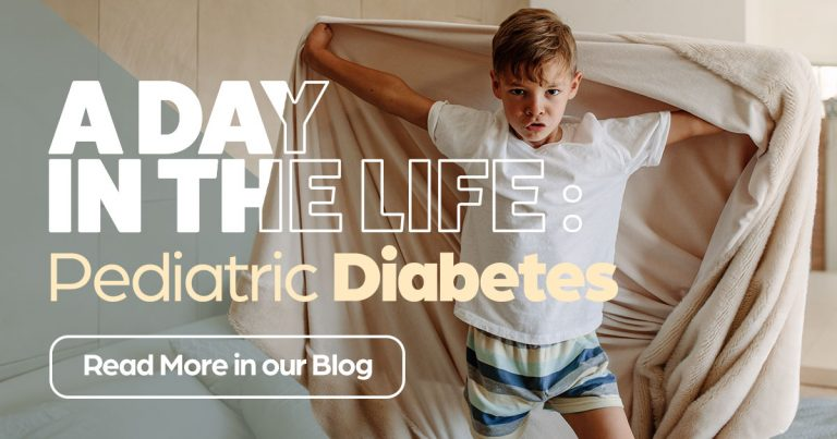A day in the life: pediatric diabetes, young boy laying in bed playing with sheet, diabetes research