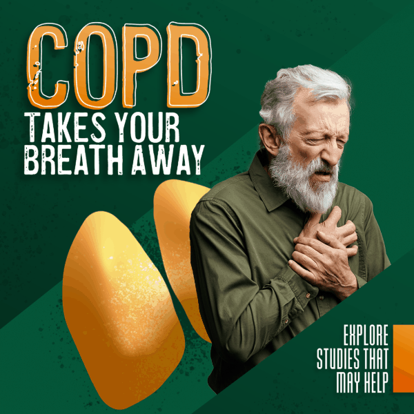 COPD takes your breath away. Explore studies that may help. Older male grabbing chest in pain.